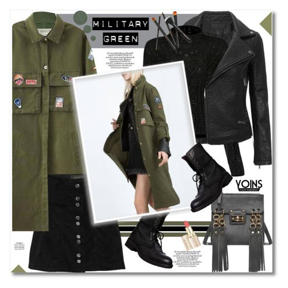 """Attention! Go Army Green"" by svijetlana ❤ liked on Polyvore featuring Mode, Current/Elliott, Steve Madden, Anastasia Beverly Hills, polyvoreeditorial, yoins und gogren"