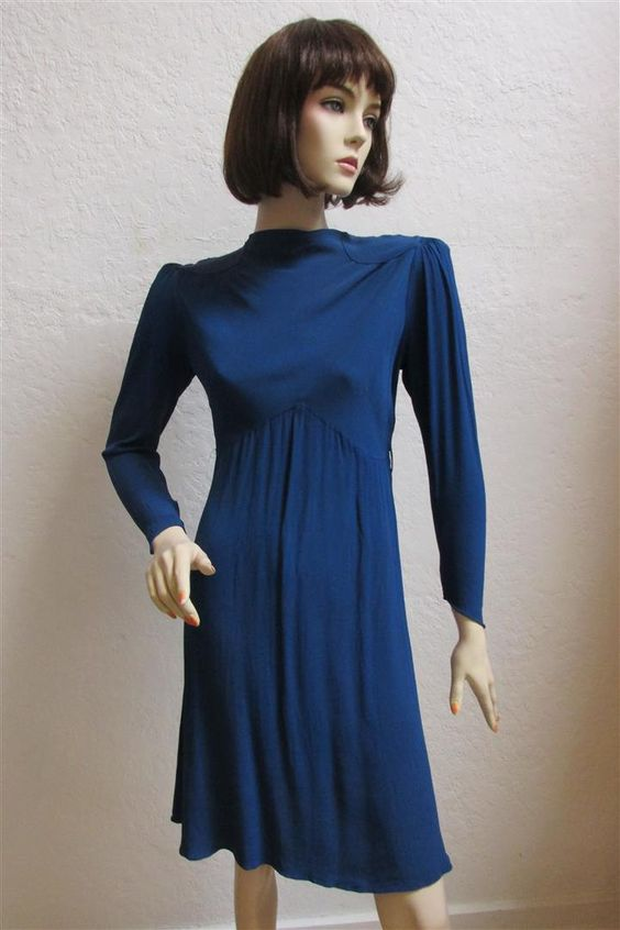 """1930's  Royal Blue  """"Afternoon Dress"""" With """"Poof"""" Shoulders - 25"""" Waist by MTvintageclothing on Etsy"""