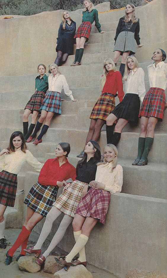 Late 60s wool plaid miniskirt red yellow blue black pink grey brown models magazine knee socks tights blouse shirt shoes mod skirt 'New, youth-movement casuals, zip-zapped with color, distinguished with detailing, mobile with pleats.' (1969) #Woolite #BobbieBrooks