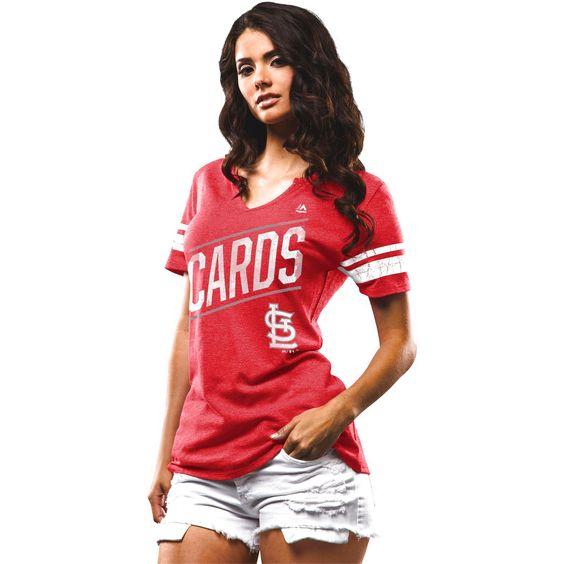 St. Louis Cardinals Majestic Women's Success Is Earned Notch Neck T-Shirt - Red - $23.99