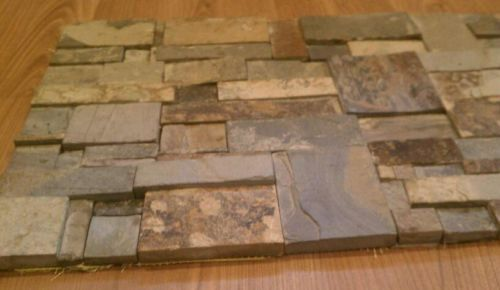 Dry stack random slate mosaic tiles no grout joints wall for Tile backsplash without grout