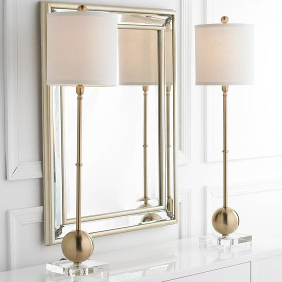 Foyer Table Lamps : Brushed gold sphere candlestick lamp foyer tables