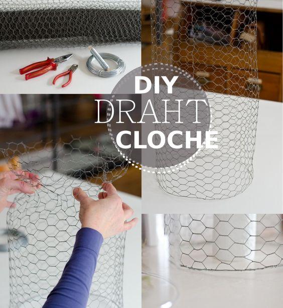 Diy cloche aus draht selber machen und deko for Tischdeko blumentopf
