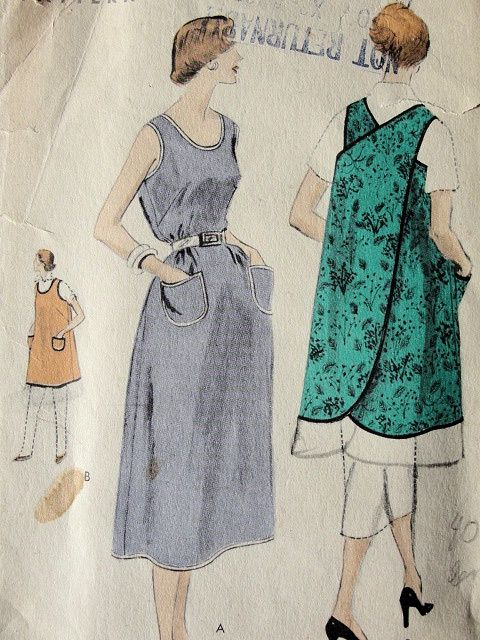 1950s SLIP OVER APRON or DRESSPATTERN VOGUE 8159VERY EASY TO MAKE: