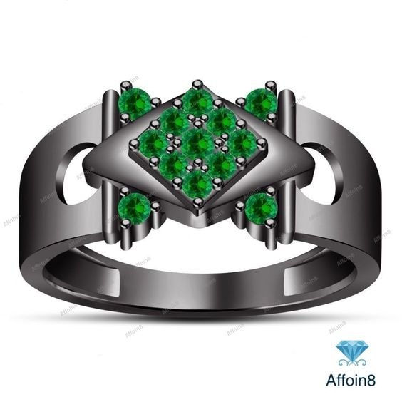 0.90 Ct Round Cut Green Sapphire 925 Silver Men's Nine Stone Wedding Ring  7-14…