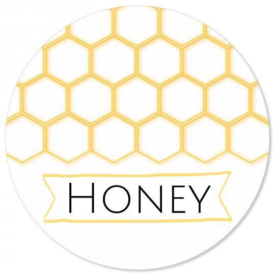 Gratis Vorlage Rundes Etikett Honey Honig Marmeladenetiketten Marmeladen Etikett Etiketten Vorlagen