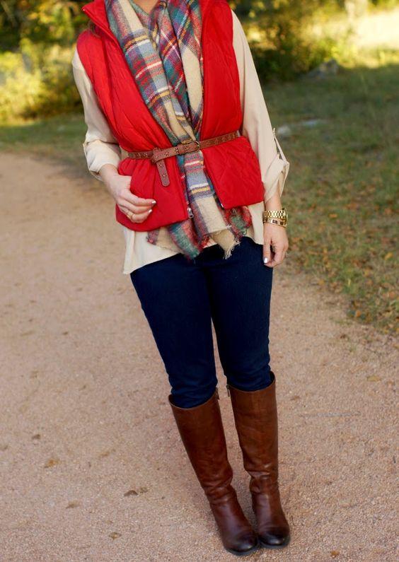 Tuck & belt a oversized blanket scarf under a quilted vest.