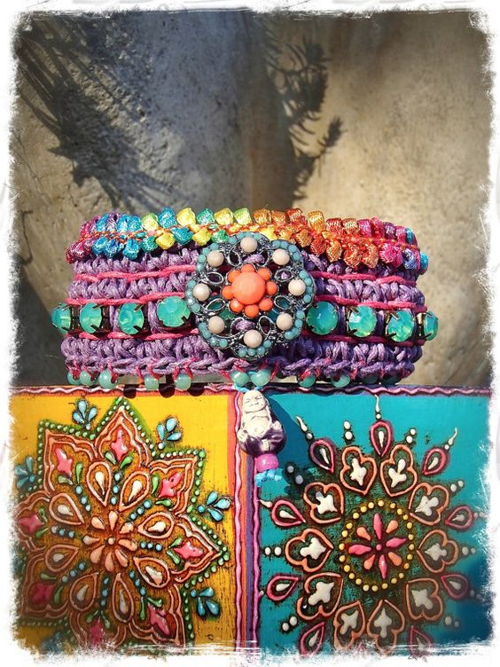 RAINBOW Purple Indie BUDDHA cuff Crochet BRACELET tribal by GPyoga, $74.00