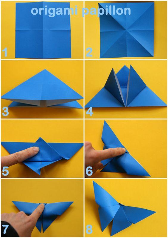 Nous avons agrandi notre collection d'origami avec ce papillon délicat. Ma fille voulait en faire une guirlande, je penchais plutôt pour un mobile. En tout cas, ils sont plutôt faciles à faire, une fois que l'on a compris le coup de la tête ! Instructions Prenez une feuille de papier origami ou tout autre papier coupé en carré. Une feuille de 13 cm sur 13 vous donnera un papillon de 13 cm d'envergure. Commencez par plier la feuille dans un sens, puis dans l'autre en dépliant à chaque fois…