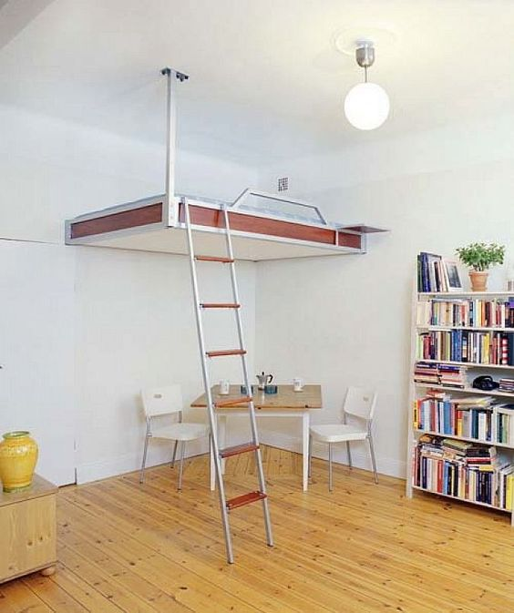 Loft beds for small apartment with bookshelves