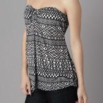 WAS $18.00 NOW $10.50    Sweetheart neckline printed top, elastic back detail.  100% Rayon  Made in USA