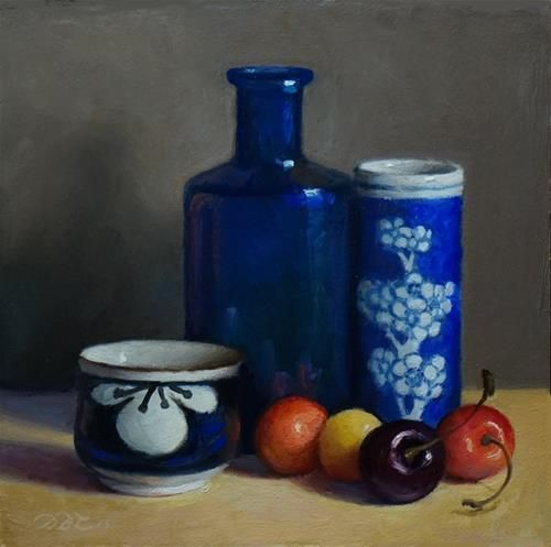 "Daily Paintworks - ""Blue Vessels and Cherries"" - Original Fine Art for Sale - © Debra Becks Cooper"