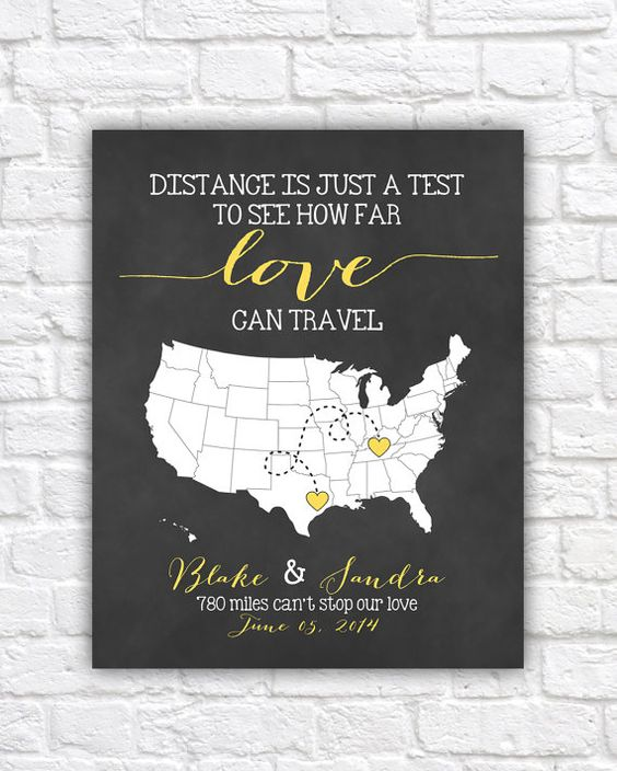 Personalized Wedding Map, Gift for Couples - 8x10 Art Print, Bridal Shower Gift, Love Travel Map, Long Distance Relationships, Wedding Sign