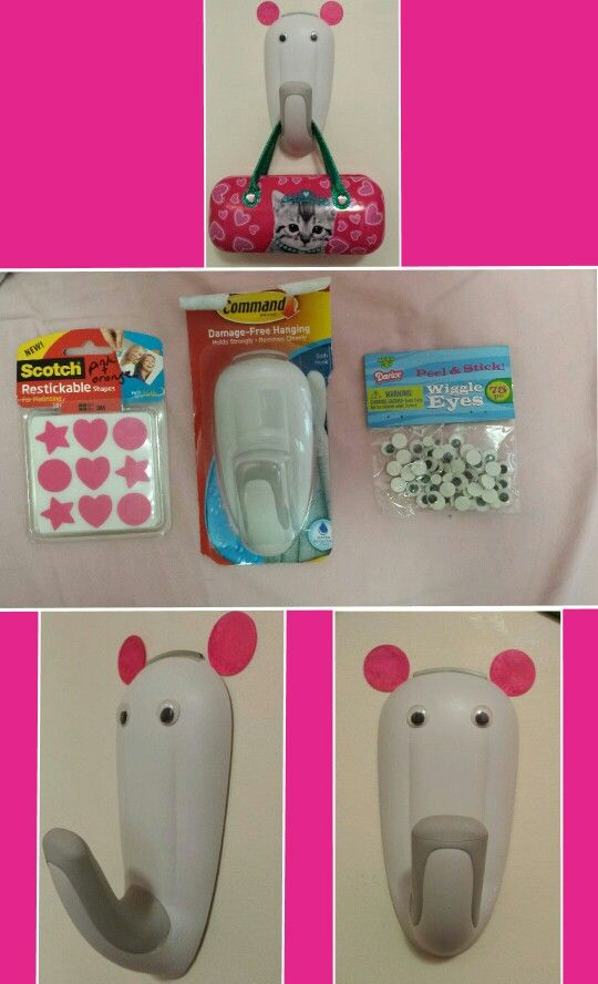 Used command hook reusable wall stickers and wiggle eyes for Wall hooks for kids room