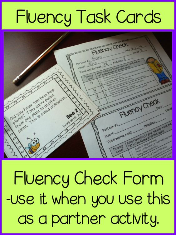 Insect themed fluency task cards about 7 different insects.  Can be set up as a center or a partner activity.  Two different recording sheets are included.  paid