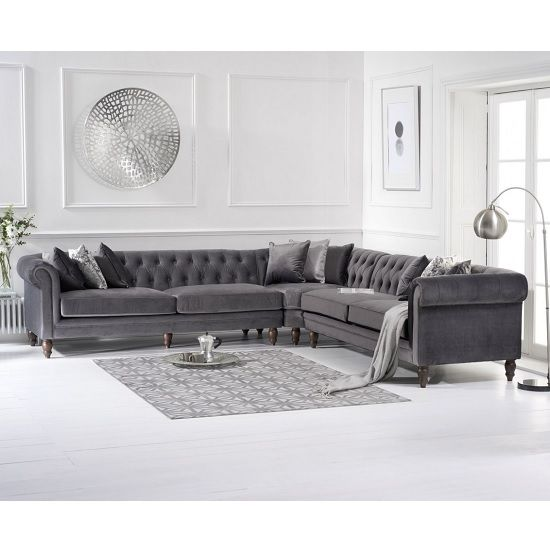 Candela Modern Fabric Corner Sofa In Grey Velvet Furniture In Fashion Corner Sofa Design Grey Corner Sofa Chesterfield Sofa Living Room