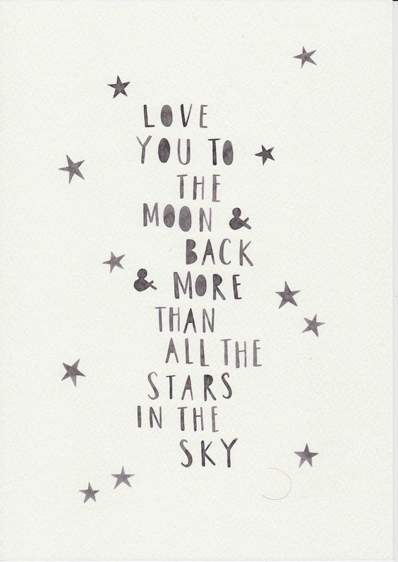 I love you to the moon and back. Art print on Etsy.