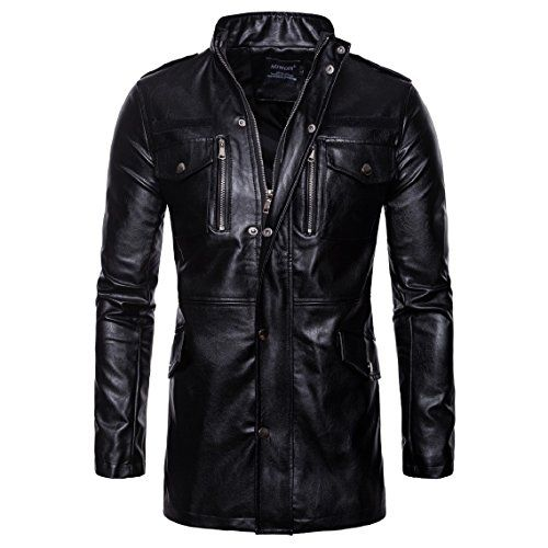 Mfasica Womens Zip-up Stand Collar Long Sleeve Faux Leather PU Jacket