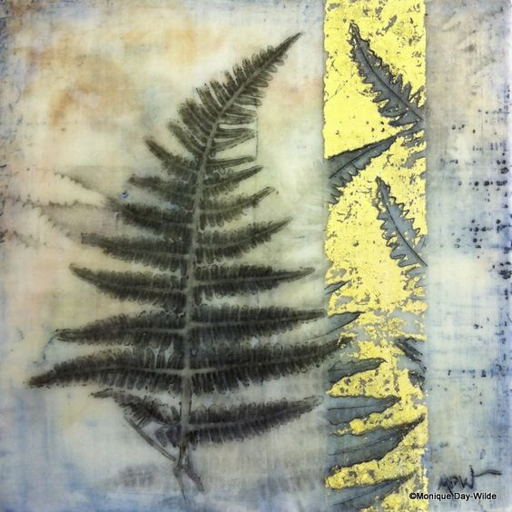 Fern- encaustic mixed media by Monique Day-Wilde: