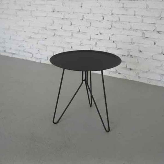 bout de canap rond klixx noir achat vente table basse d co scandinave. Black Bedroom Furniture Sets. Home Design Ideas