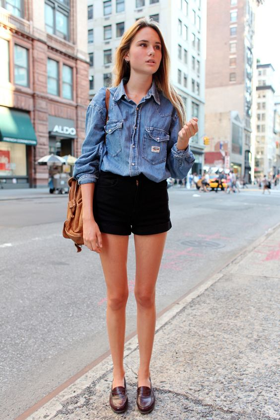Denim and Leather: Black Shorts, Summer Outfit, Denim Short, Street Style, Spring Summer, Denim Shirts