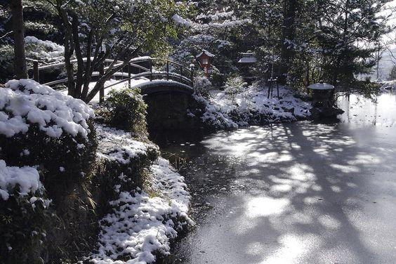 薄化粧の大原野神社 鯉沢の池 - 92san-photo album    京都の四季