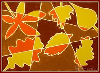 MB-BB. Leuke opdracht voor in de herfst. De kinderen tekenen met een liniaal een paar dunnen lijnen op het vel. Deze moeten wit blijven. Dan tekenen ze blaadjes op het vel. De achtergrond wordt donker en licht bruin. En de blaadjes geen en oranje. De vakken met lichtbruine achtergrond worden de blaadjes oranje en bij de andere vakken worden de blaadjes geel.