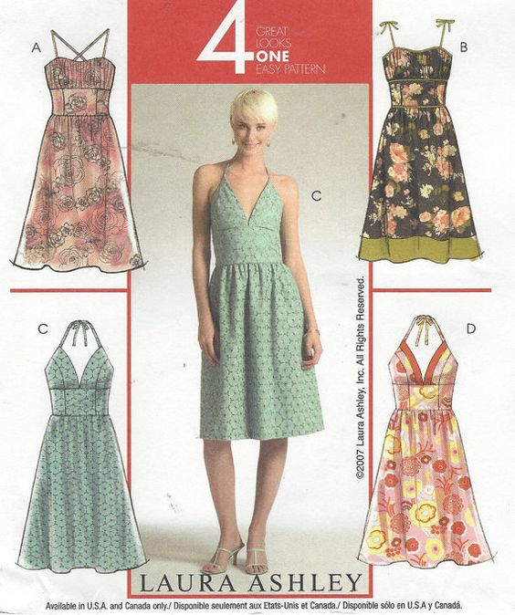 Laura Ashley Womens Halter Dress with Variations by CloesCloset