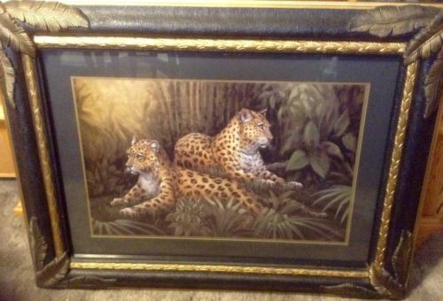 Rare Home Interiors Large Leopard Jungle Framed Picture Wall Art