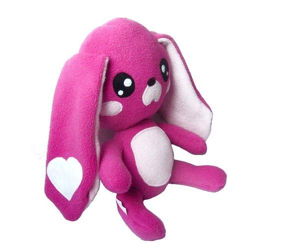 Monster & Tiere - Kawaii Plush Kuschel Hase Fleece Pink 28cm - ein Designerstück von Fluse-123 bei DaWanda