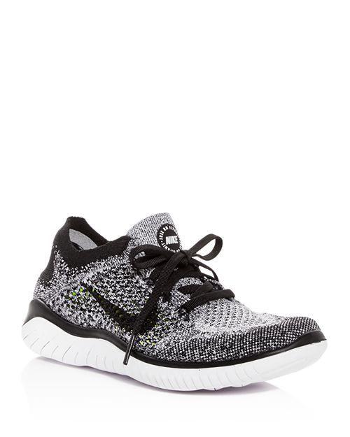Nike Women S Free Rn Flyknit 2018 Lace Up Sneakers Size 11 Black White Nike Shoes Women Flyknit Nike Flyknit Women Women Shoes