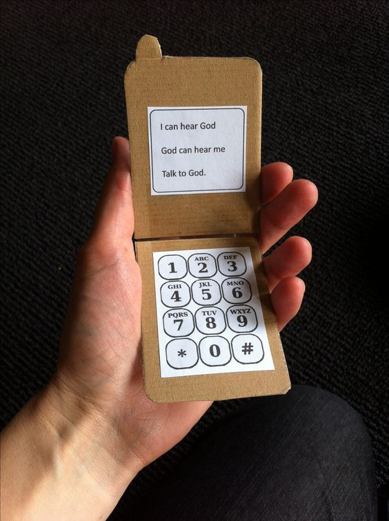 "Prayer craft - make a phone with text on screen: ""I can hear God God can hear me Talk to God."""