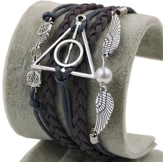 D'amelie Harry Potter Bracelet Thème gothique/punk Les reliques de la mortAvec chouette, Snitch, ailes de chouettes Plaqué argent