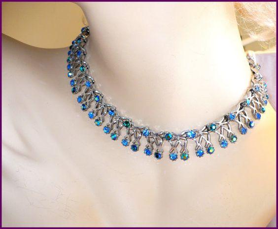 Vintage BlueGreen Aurora Borealis (AB) & Royal Blue Rhinestone Necklace / Choker  by MarlosMarvelousFinds on Etsy, $30.00