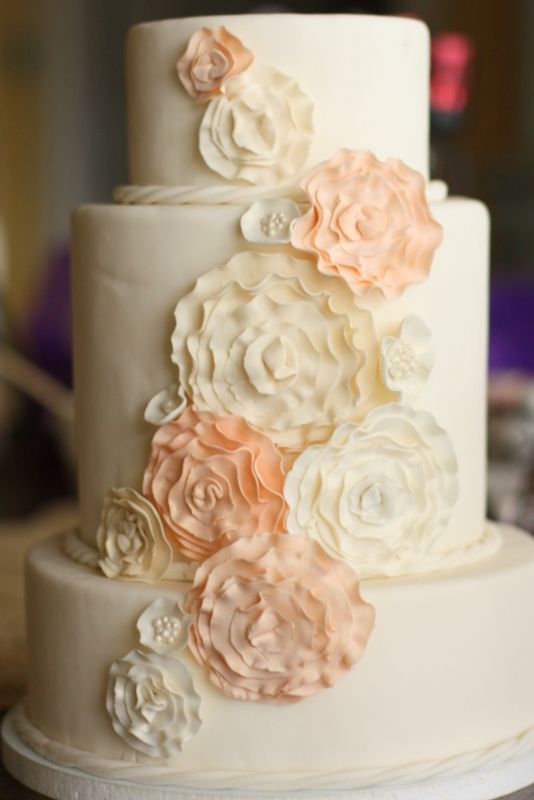 Cake With Fondant Flowers : Ruffle flower wedding cake - Fondant cake with ruffle ...