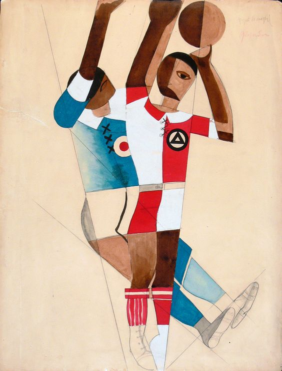 Anatolii Petritsky: Costume design for Volleyball Players for The Footballer produced at the Kharkov Opera Theatre 1929. Graphite pencil, watercolor, tempera, ink, drafting pen on paper. Bakhrushin State Central Theatre Museum, Moscow