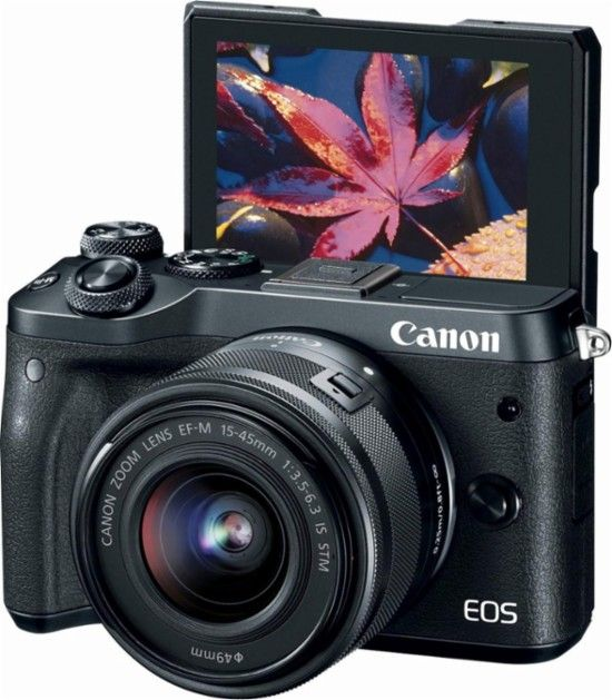 Best Buy Canon Eos M6 Mirrorless Camera With Ef M 15 45mm F 3 5 6 3 Is Stm Zoom Lens Black 1724c011 Mirrorless Camera Canon Eos Zoom Lens