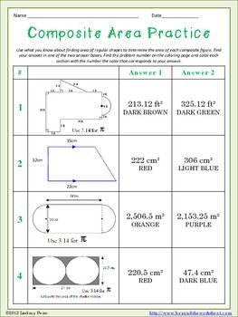 Composite Area Coloring Worksheet | School Year, Assessment and A ...