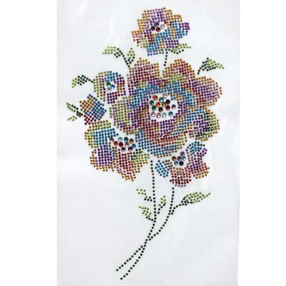 Rhinestone Iron on Transfer Hot Fix Motif Beautiful Flowers Deco Fashion Design | eBay