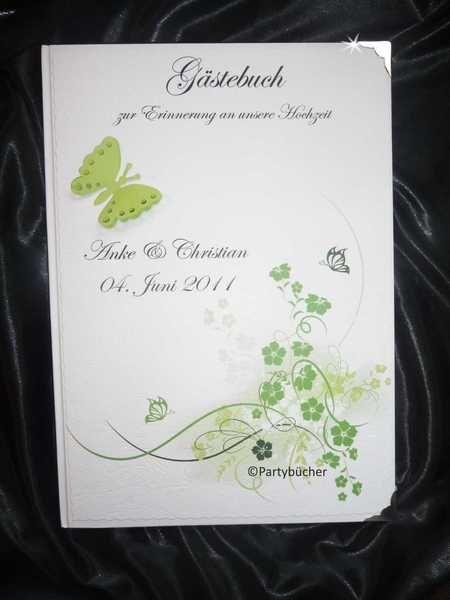 """Wunderschönes  Hardcover Gästebuch   """" Schmetterlinge Maigrün mit Buchecken und 3 D Schmetterling""""  und Ihren persönlichen Daten ( Nr. N03 Maigrün 3 D"""