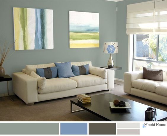 Light Sage Green Living Room With Blue Accents Relaxing