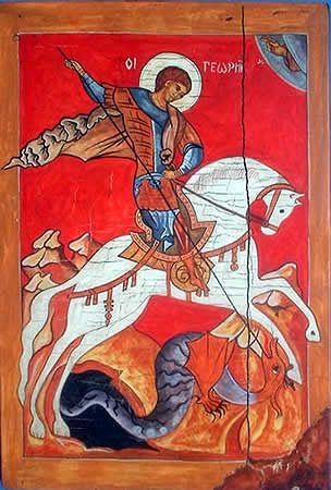 SAN JORGE Y EL DRAGÓN (I). Pintura sobre tabla perteneciente a la Escuela de Novgorad. Finales del siglo XIV.