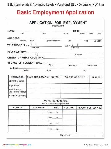 job application forms to print ESL BASIC EMPLOYMENT APPLICATION - employee application forms