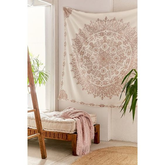 Folklorica Medallion Tapestry ($49) ❤ liked on Polyvore featuring home, home decor, wall art, urban outfitters, rose wall art, urban outfitters wall art and home wall decor