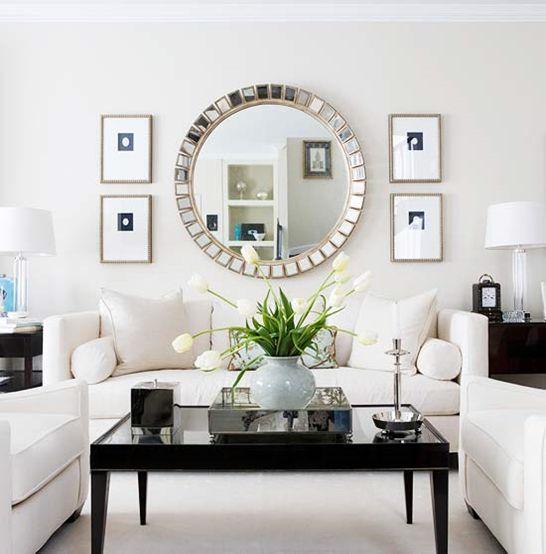Simple black + white living room
