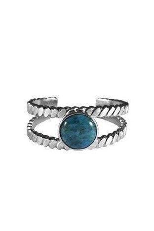 Bracelet argenté et turquoise de Helles
