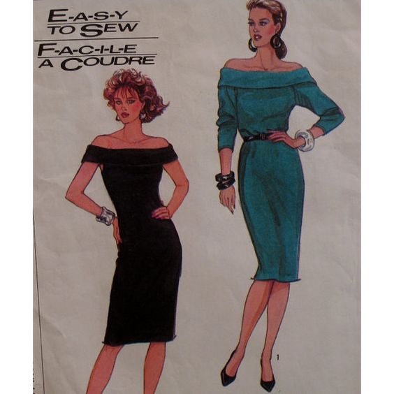 Slinky Off Shoulder Dress Pattern, Fitted Stretch Knit, Straight, Sleeveless,...