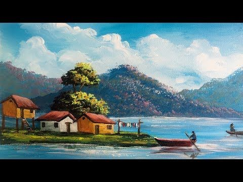 Easy Landscape Painting Step By Step Painting Tutorial How To Paint Easy Landscape Paintings Landscape Paintings Step By Step Painting