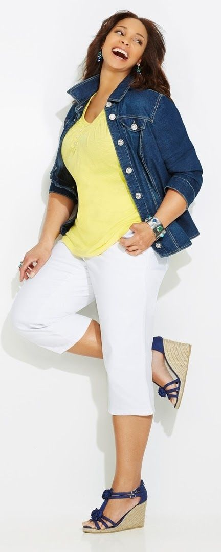 Jean jacket, blue wedges and bright yellow tank: