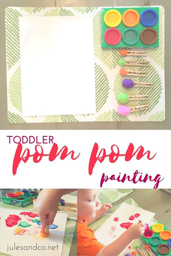 Low mess. High fun! Try this pom pom painting art project for toddlers and preschoolers! We love creating art, plus this activity sneaks in fine motor skills and early learning too! Click to learn how!